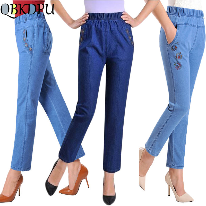 Mom's Plus Size Stretch Waist Cotton Summer Autumn   Jeans   2019 Elegant Embroidery Denim Trousers for Woman Casual Slim High Waist