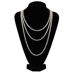 Image 3 - 3 мм ледяной Bling AAA Zircon 1 ряд, цепочка для тенниса, мужское ожерелье, хип хоп ювелирные изделия, Прямая поставка