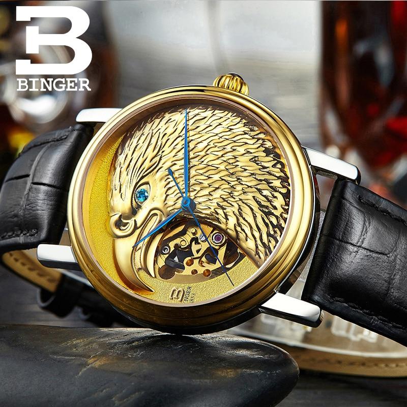 Suisse BINGER montres hommes japon 8N24 automatique Movemt hawk saphir véritable bracelet en cuir montres mécaniques B8888