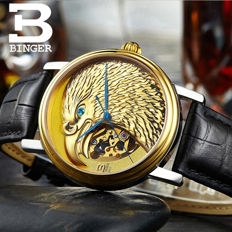 Switzerland BINGER watches men Japan 8N24 Automatic Movemt hawk sapphire genuine leather strap Mechanical Wristwatches B8888 feie high quality cic digital hearing aid s 15a ear amplifier for the hearing loss