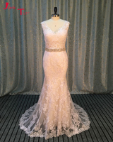 Jark tozr Vestido de Noiva fuera del hombro botón Volver blanco Appliques de lujo vaina novia Vestidos de novia 2018 brautkleid
