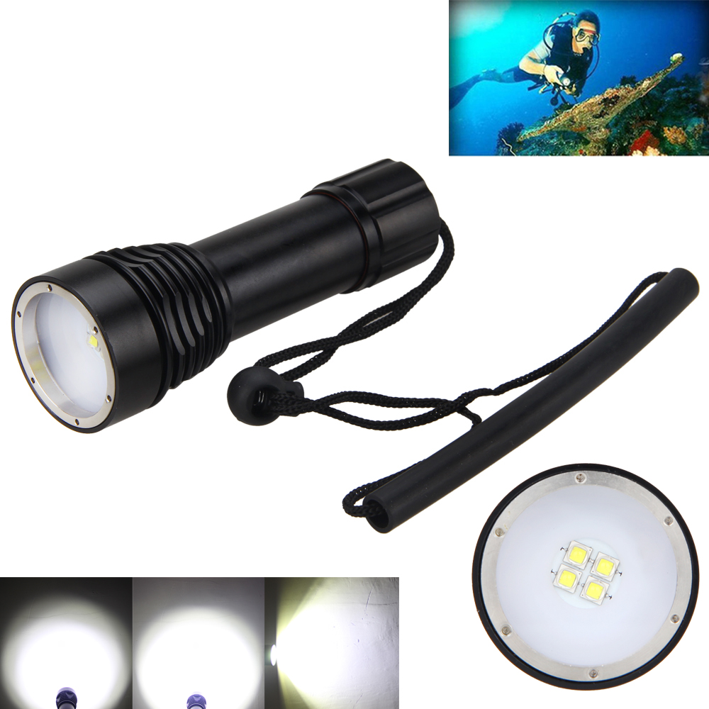 Waterproof 100m 4000LM 4x XM L2 LED Photograph Video Underwater Lamp Light Diving Scuba Flashlight