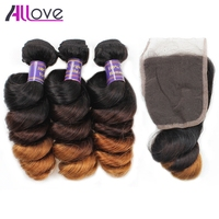 Allove Preuvian Loose Wave Hair Bundles With Closure Free Part Ombre Hair Extensions 1B/4/30# Remy Human Hair Weave Bundles