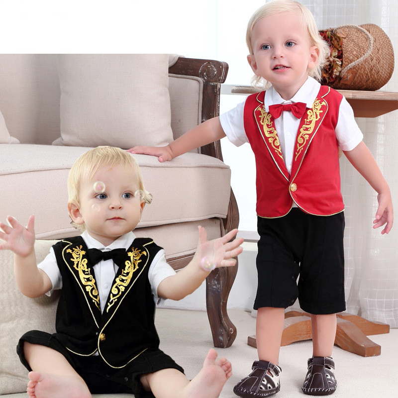 Children Summer Baby Boys Rompers Cotton Short Sleeve Kids Boy Clothes Prince Clothing Suit Bow Tie Jersey Formal Playsuit newest 2016 summer baby rompers clothing short sleeve 100