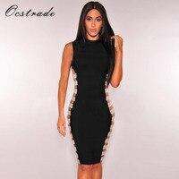 Ocstradeレーヨン包帯ドレス2017夏新しい到着セクシーな黒カットアウト包帯ドレスパーティードレス卸