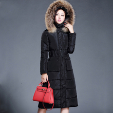 2015 new winter coat ladies hit color temperament long section of women's feather padded 4-color made you pick L-XXL