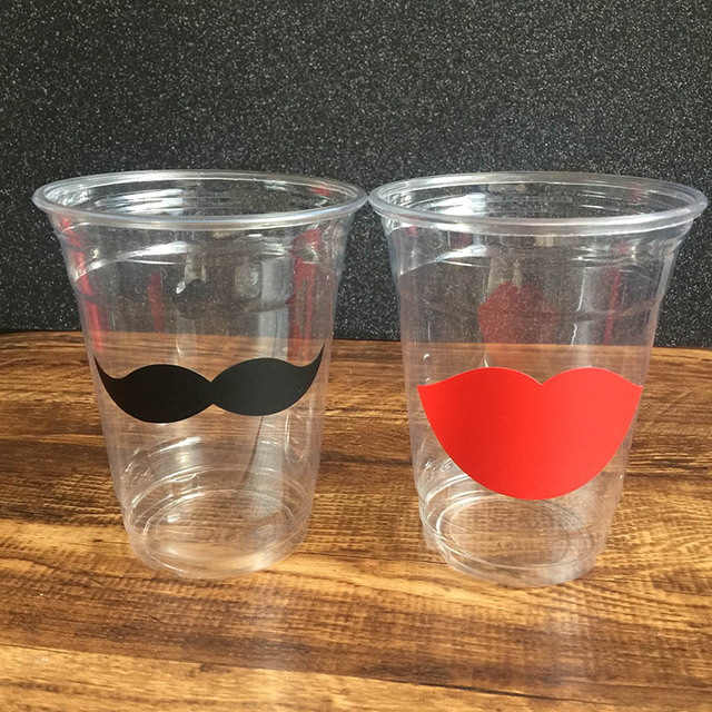 24 diy vinyl sticker clear disposable wedding party black mustache red lip 12oz cups engagement anniversary