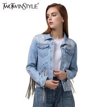 [Twotwinstyle] 2016 осень-зима Винтаж Вернуться кисточки джинсовая куртка пальто женщин новая уличная высокое качество(China (Mainland))