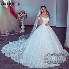 OKOUFEN Chapel Train Wedding Dress 2019 Dresses For