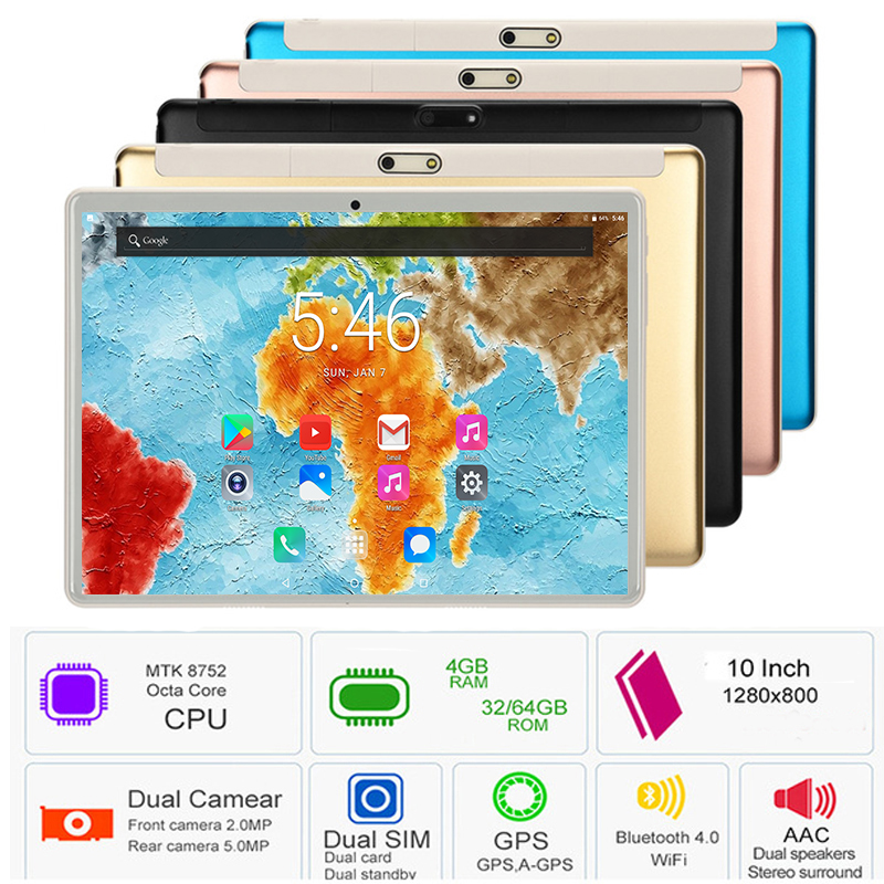 2019 Hot New Android 8.0 OS 10 Inch Tablet PC Octa Core 4GB RAM 64GB ROM Dual SIM Cards Gift Tablet 10.1 IPS 2.5D Tempered Glass