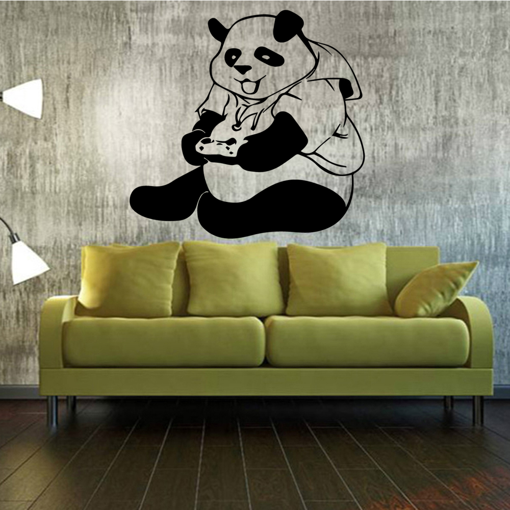 Drop Shipping panda for kids room decoration Vinyl Stickers For Baby's Rooms Vinyl Art Decal wallsticker