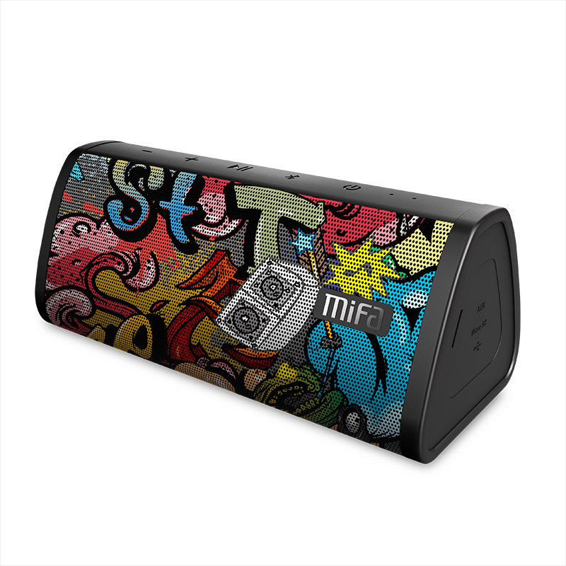 MIFA Black Graffiti Bluetooth Speaker IPX5 Waterproof Bluetooth 4.2 Wireless Speaker Micro SD Built in Mic Stereo Sound TWS