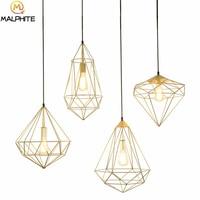 Nordic simple pendant Lights Diamond Iron Pendant lamps cafe bar hanging lamps Restaurant Bedroom Decoration lighting fixtures