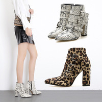 2018 New sexy serpentine leopard print women's boots sexy women boots shoes woman wild beauty
