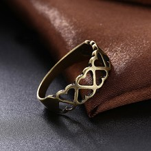 GOMAYA Simple Retro Style Rings Hollow Heart Shape Ancient bronze Color Wedding  for women Friends Gifts Jewelry