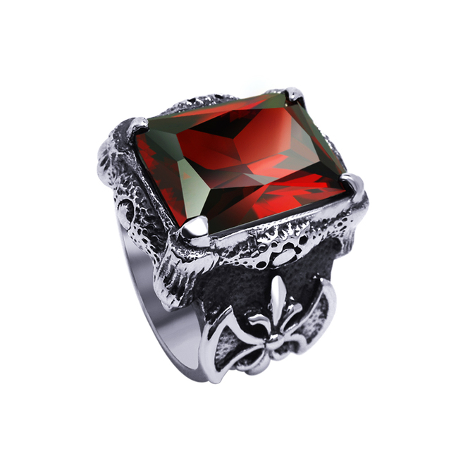 94649adae236dc 2016 Vintage Cool 316L Stainless Steel Index Finger Rings For Men Fashion  Ruby Gem Jewelry Male Accessories gothic ring
