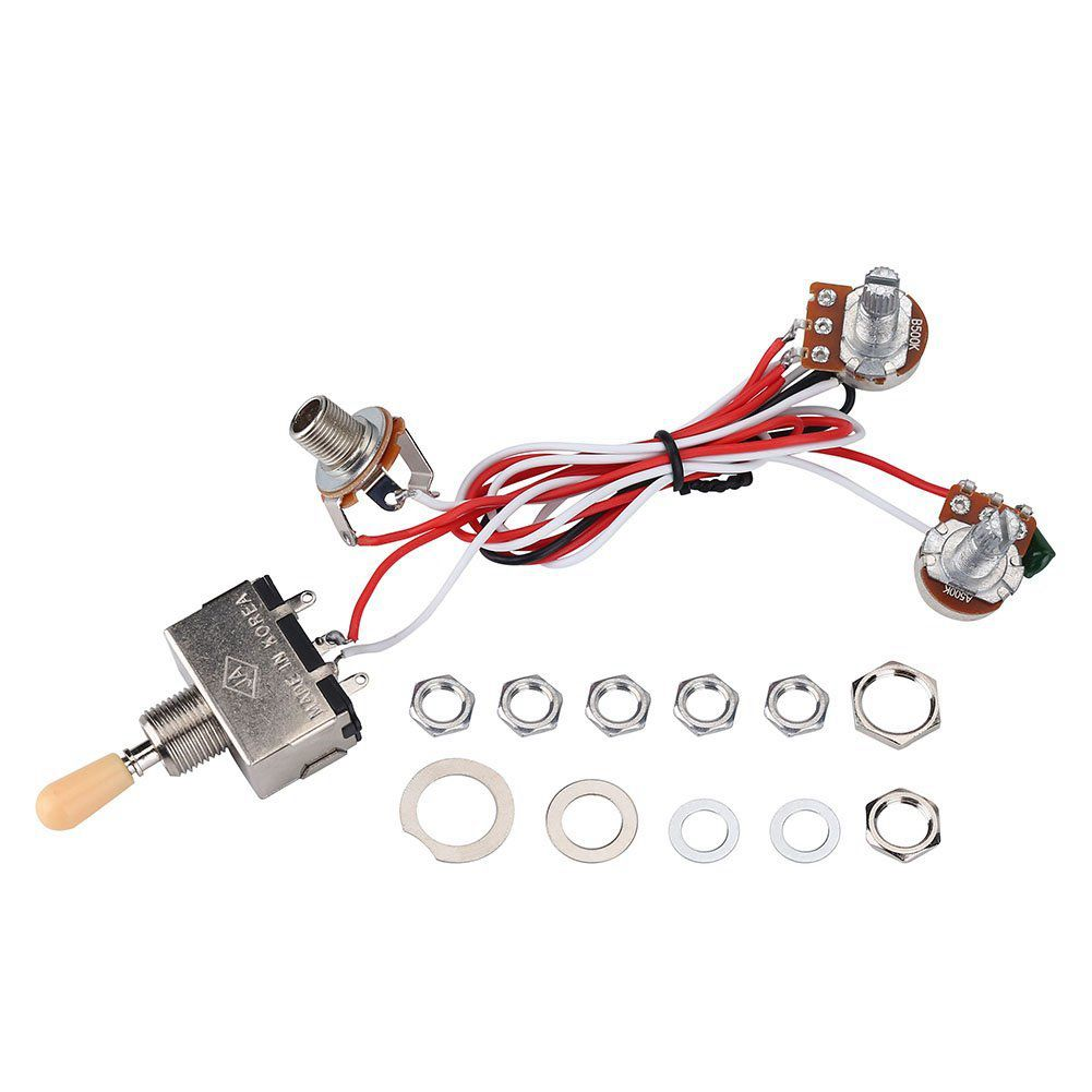 Generic Guitar Wiring Harness 3way Toggle Switch 1v1t 500k For Lp 2 3 Way Humbucker Sylife