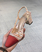 Sandales Femme 2019 Chic Heel Slingback Women Pumps Brand Star Runway Dress Office Shoes Women Mixed Color Shallow Women Shoes