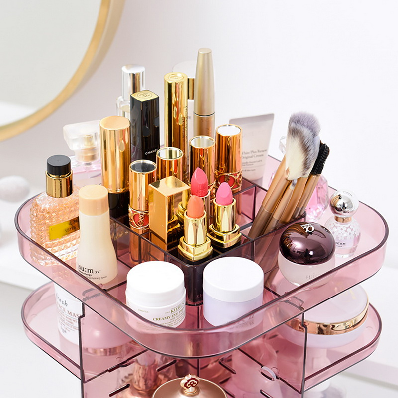 Image 2 - 1PC Fashion 360 degree Rotating Makeup Organizer Box Brush Holder Jewelry Organizer Case Jewelry Makeup Cosmetic Storage Box-in Storage Boxes & Bins from Home & Garden