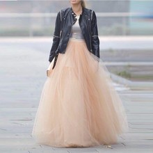 18 Colors 100% Real Images 6 Layers 100cm Long Skirts Rose Gold Color Summer Tutu Skirt Ball Gown Pleated Women Tutu Skirts