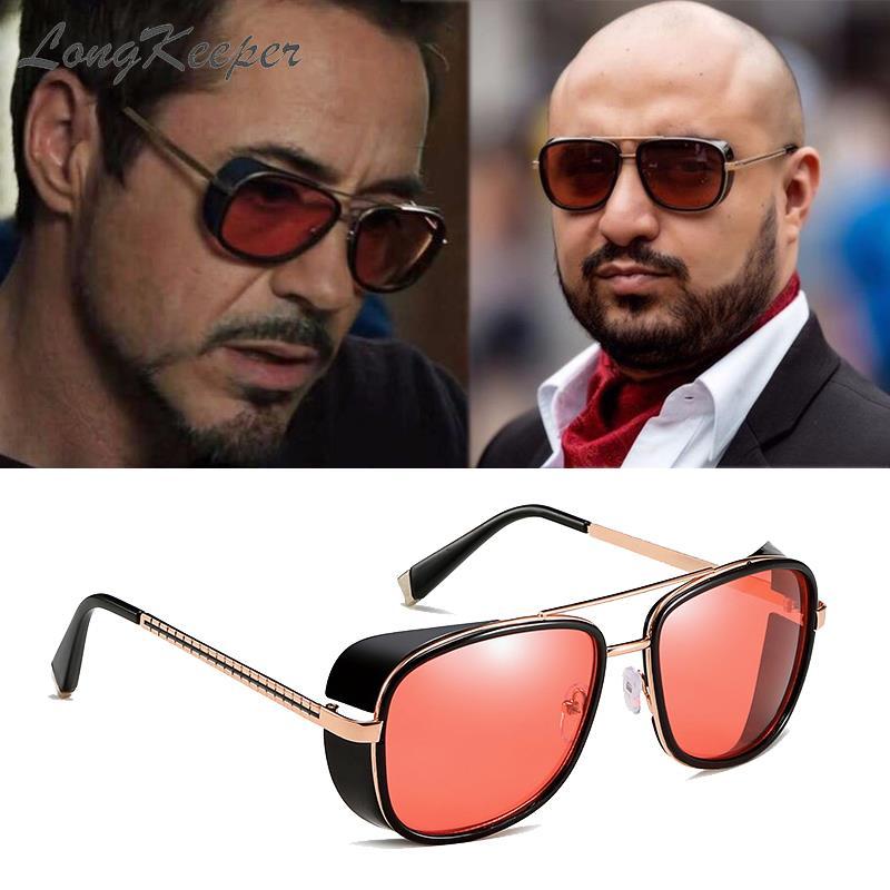 LongKeeper Steampunk Goggles Sunglasses Tony Stark Iron Man Gafas Retro Square Eyewear Red Lens Pilot Sun Glasses UV400
