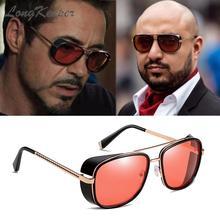 LongKeeper Steampunk Goggles Sunglasses Tony Stark Iron Man Retro Square Eyewear Red Lens Pilot Sun Glasses UV400