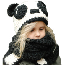 цены на 1-7 Y Baby Pande Winter Hats Kids Handmade Croche Hats Wrap Scarf Caps Girls Cute Autumn Children Wool Knitted Hats thick Cap  в интернет-магазинах