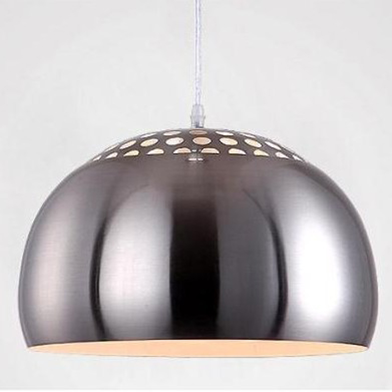 ФОТО Brief modern stainless steel restaurant chandelier study room  bar stairs circular iron lamp E27 LED bulbs