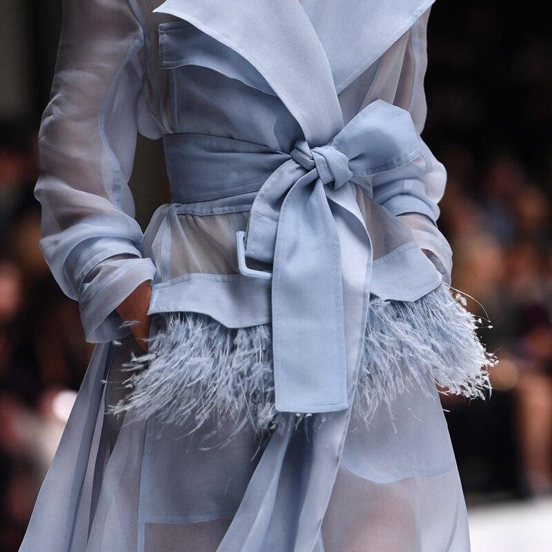 Long Femmes Avec Piste blanc Pour Ciel Organza Streetwear Pu Voir Sexy Élégant Travers À Trecnch Automne Manteau Plumes Poche Ceinture WbDEHe29IY