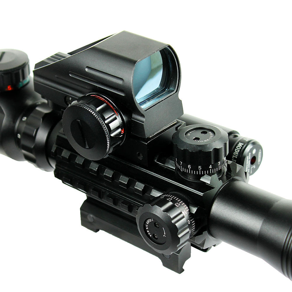 High Quality 4-12X50EG Tactical Rifle Scope With Holographic 4 Reticle Sight & Red Laser Combo Airsoft Weapon Sight For Hunting