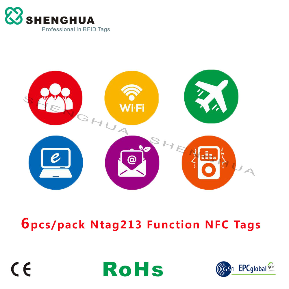 6pcs NFC Tags 13.56MHz ISO 14443A All NFC Phone Available 25mm NFC Sticker Adhesive Labels