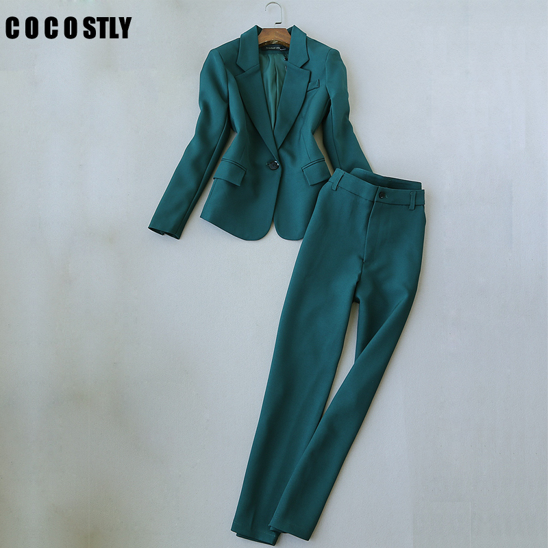 Autumn Suit Women Elegant Office Lady Business Suits Female Two Piece Sets Femme Full Sleeve Jackets And Trouser Suits