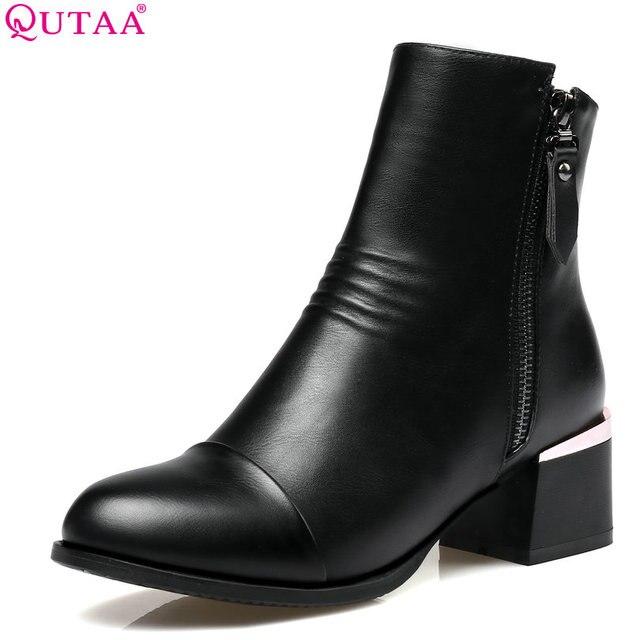 Qutaa/2018 г. женские ботильоны на высоком квадратном каблуке из PU искусственной кожи круглый носок на молнии Дизайн женские ботильоны на высоких квадратных каблуках Размеры 34–43