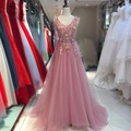 2017 Pink Red Blue Beading Lace Long Evening Dresses Formal Gown Prom Dresses robe De soiree Vestido De Festa longo GT76