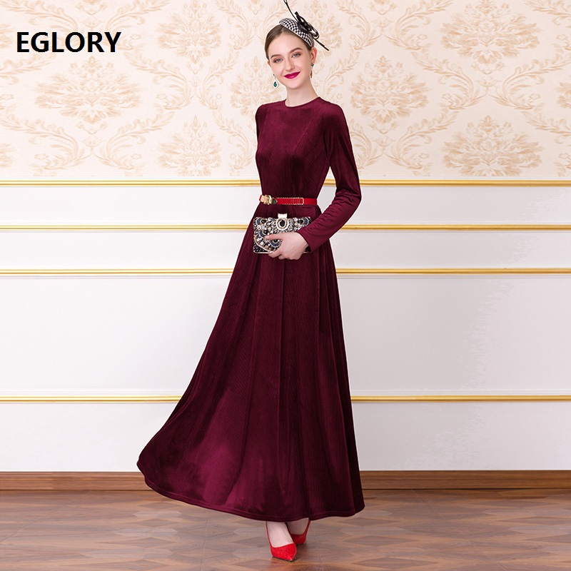 Velvet Long Dress 2019 Autumn Winter Evening Party Vestidos Women O-Neck Soft Velour Long Sleeve Maxi Dress Plus Size XXXXL