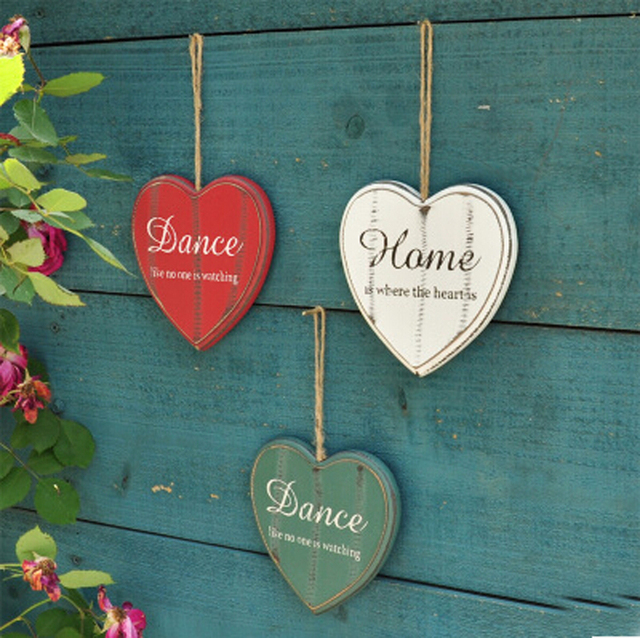Creative Heart Shpe Hanging Wall Stickers Home Decorcoffee Shop Decoration Wooden Sticker