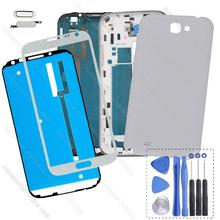 For Samsung Galaxy Note 2 GT N7100 N 7100 Original Full Housing Cover Middle Frame Battery Door Case & Screen Glass Replacement