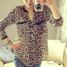 2017 Autumn Women Wild Leopard print chiffon blouse lady sexy Long-sleeve top shirt loose plus size V neck leopard blouse(China)