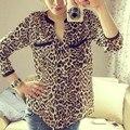 2017 Autumn Women Wild Leopard print chiffon blouse lady sexy Long-sleeve top shirt loose plus size V neck leopard blouse