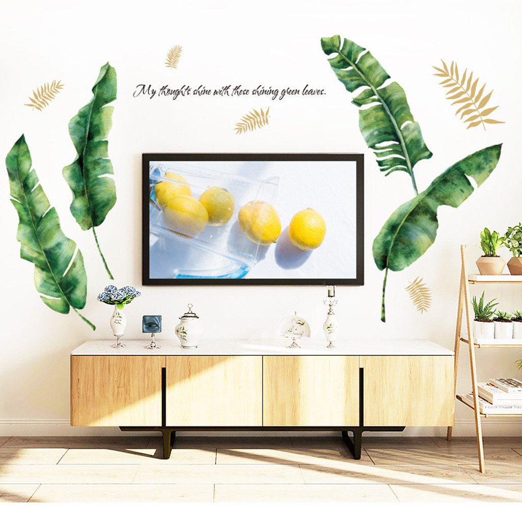 Green vegetation large leaves Removable Vinyl Decal Art Mural Pink rose Home Living Room Decor 2019 Wall Sticker Hot Sale in Wall Stickers from Home Garden