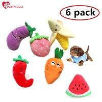 6 מארז-מציץ בפלאש כלב צעצוע חמוד פירות ירקות לחיות צ 'יוואווה כלב חתול סאונד צעצוע לכלב קטן סט של 6