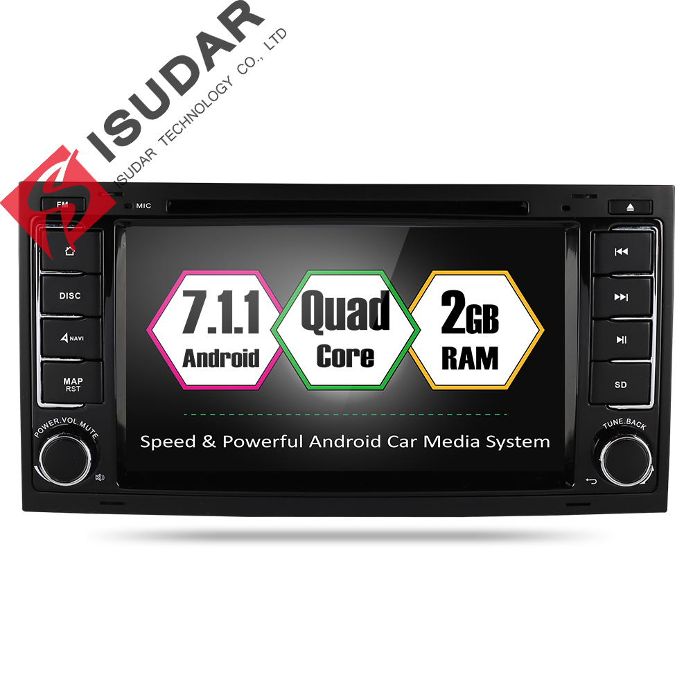 Isudar Car Multimedia Player GPS Android 7.1.1 2 Din Autoradio Car DVD Player For VW/Volkswagen/Touareg/Transporter T5 Radio FM