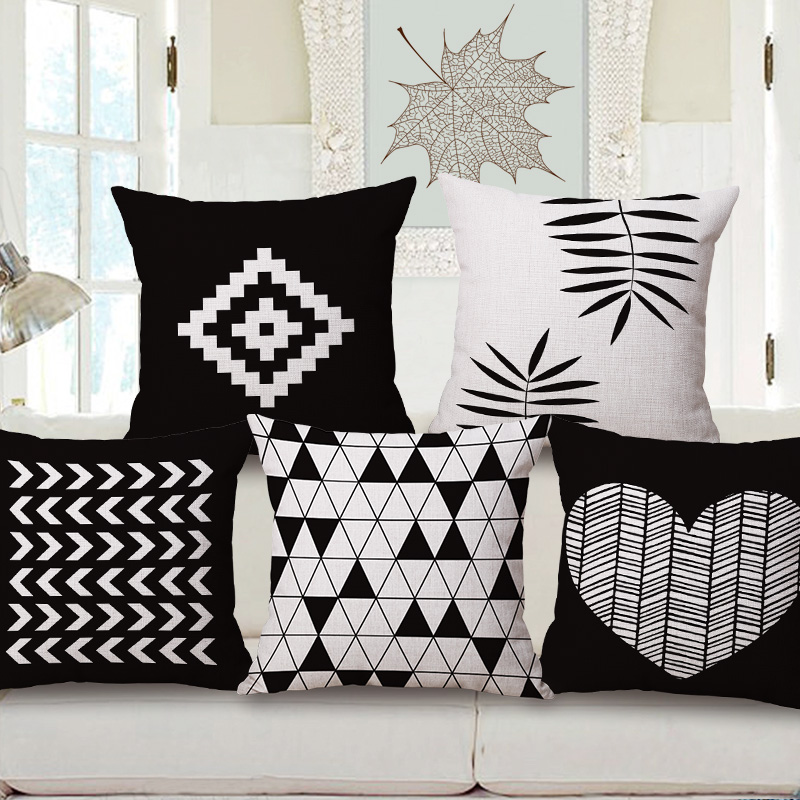 nordic decorative pillows case black and white cushion cover heart geometric couch cojines printed diamond sofa - Black And White Decorative Pillows