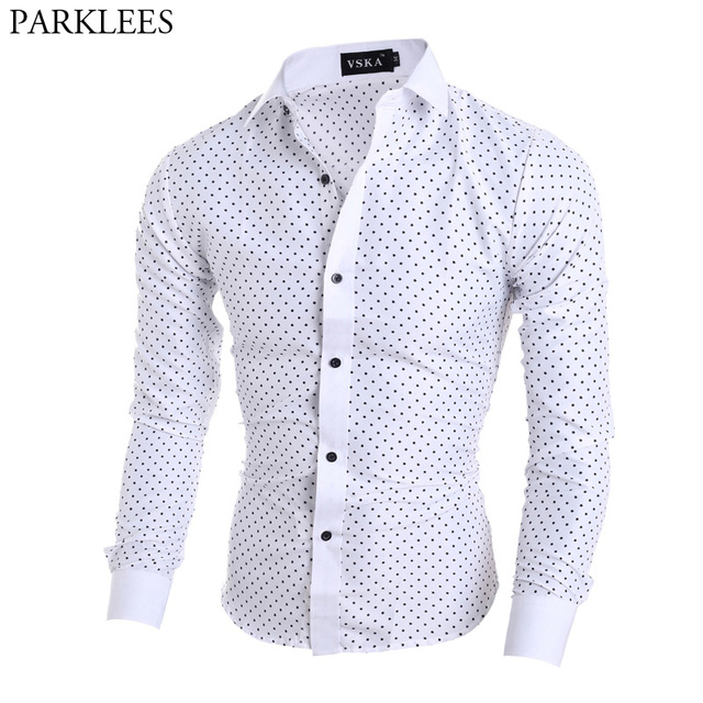 ddfd7089aa4 Mens Polka Dot Print White Dress Shirts Slim Fit Long Sleeve Chemise Homme  Business Casual Button Down Shirt Male Camisa Social