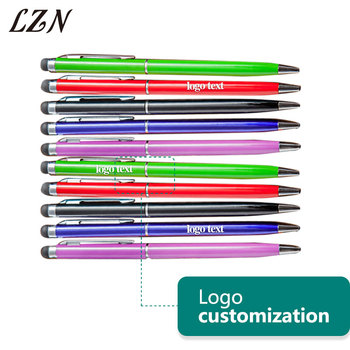 LZN Creative 2 IN 1 Capacitive Touch Screen Stylus Pen Multi Ballpoint Pen Free Print Office Address/Text/Logo For Promotion