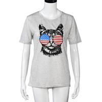 Women Casual Loose T Shirt Tops Flag Glasses Cat Short Sleeve Blouse Large Size Ladies Flag
