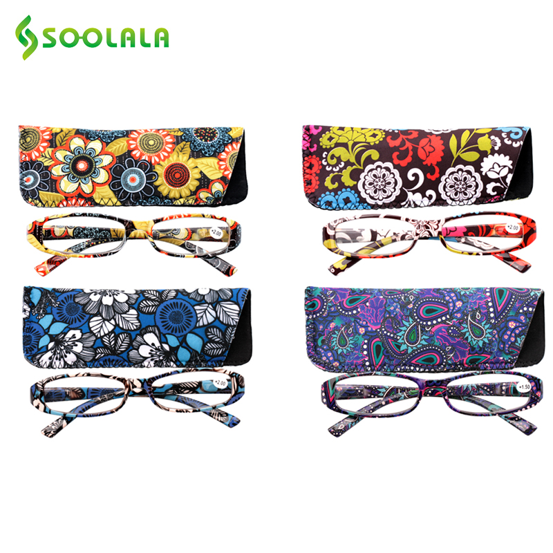 Soolala Womens Reading Glasses Spring Hinge Rectangular Printed Reading Glasses With Matching Pouch +1.0 1.5 1.75 2.25 To 4.0 To Ensure A Like-New Appearance Indefinably