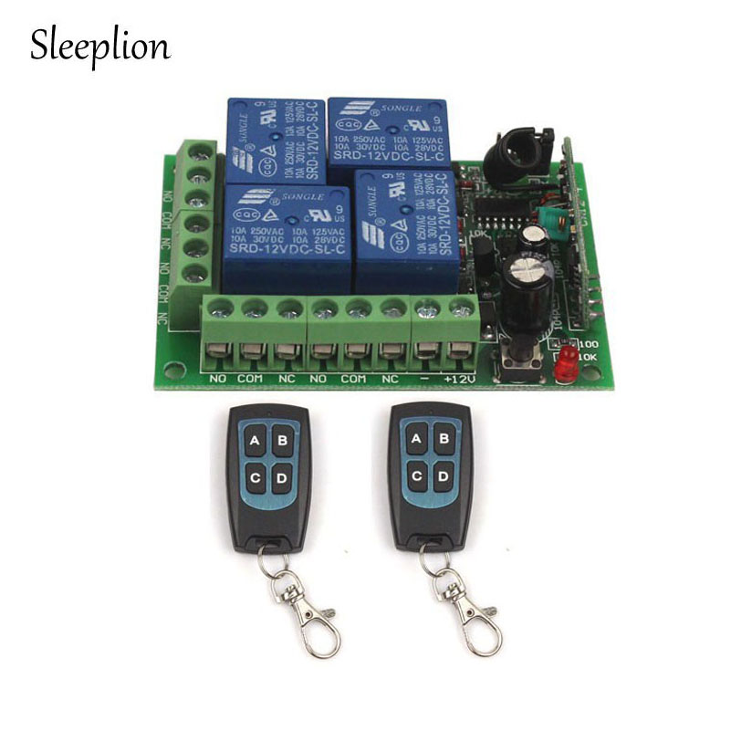 Sleeplion 12V 4 Channel Auto RF Wireless Remote Control Module Relay ON/OFF 315MHz/433MHz