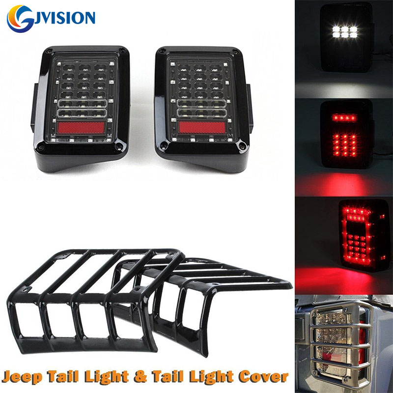 2PCS LED Taillight car JK Brake Light Reverse light signal light and pair tail light Guard Cover Protector for Jeep Wrangler JK high quality stainless steel black light guard rear taillights cover for 07 17 jeep wrangler jk 2 door
