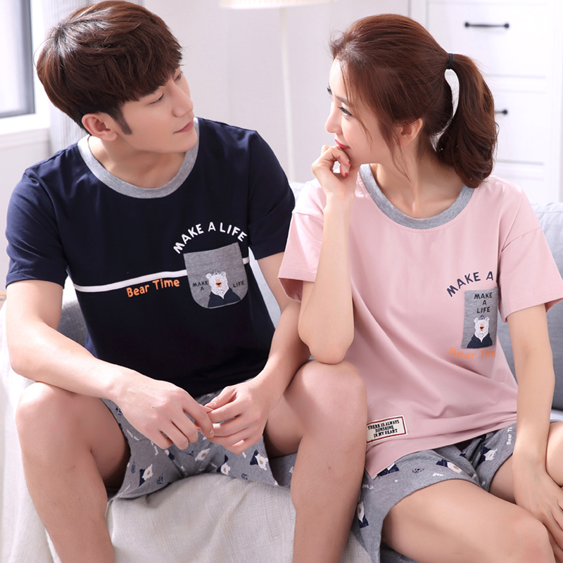 Soft Silk Pure Couple Pajamas Summer Women's Cotton Pajamas Men's Republic Of Korea